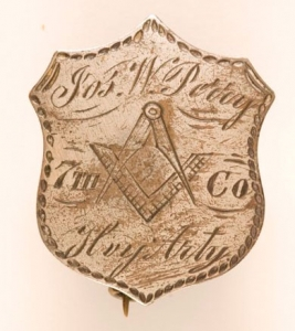Masonic Civil War ID Pin, ca. 1861, United States. Gift of Jacques Noel Jacobsen Jr., 2009.021.24. Photograph by David Bohl.