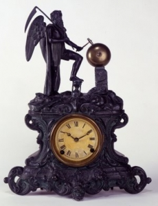 Father Time Shelf Clock, ca. 1890. E.N. Welch Manufacturing Company, Bristol, Connecticut. Gift of Mrs. Willis R. Michael