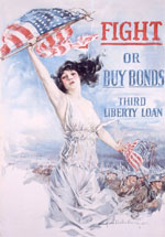 Fight or Buy Bonds, 1917. Howard Chandler Christy (1873-1952). Printed by the Forbes Company, Boston, MA. National Heritage Museum, Van Gorden-Williams Library & Archives, gift of H. Brian Holland, A96/089/08. Photo by Joe Ofria.