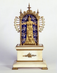 Mantel Clock, 1800s, France, Scottish Rite Masonic Museum and Library , gift of Mrs. Willis R. Michael, 85.108.10a-b. Photograph by David Bohl.