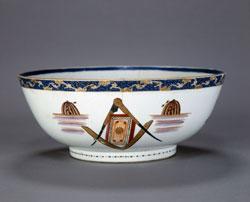 Masonic Punch Bowl, 1810-1840. China Courtesy of the Grand Lodge of Masons in Massachusetts