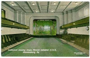 Auditorium Showing Stage, Masonic Cathedral, A.A.S.R., Bloomsburg, Pennsylvania, 1908. J.E. Roys, Bloomsburg, Pennsylvania. Scottish Rite Masonic Museum & Library Purchase, A96/066/1150. Photo by David Bohl