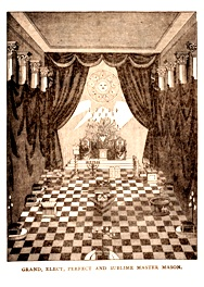 14th degree lodge room from The Secret Directory: Book I, 1867. Published by the Supreme Council, 33°, Northern Masonic Jurisdiction, Boston, MA. Van Gorden-Williams Library & Archives Collection, RARE 14.71 .D4-14 1867. Photo by David Bohl.